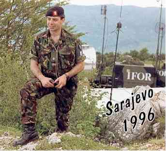 Major Ian Kelly, of The King's Regiment, serving with Headquarters 1st (UK) Signal Brigade - IFOR.  Mount Trebevic overlooking Sarajevo, Bosnia 1996